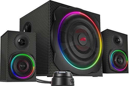 SPEEDLINK Gravity Carbon RGB 2.1 Subwoofer Lautsprechersystem - (120W Peak-Power, Bluetooth-Verbindung für Smartphone/Tablet), schwarz