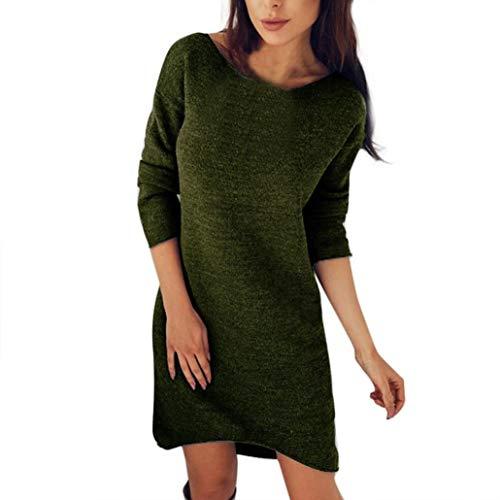 Longra Damen Pullover Kleider Winterkleider Strickkleider Langarm Mode Stricksweat Strickpullover...