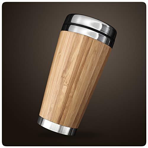 PRECORN Coffee to go Becher aus Edelstahl Bambus Kaffeebecher Thermobecher 450 ml doppelwandig
