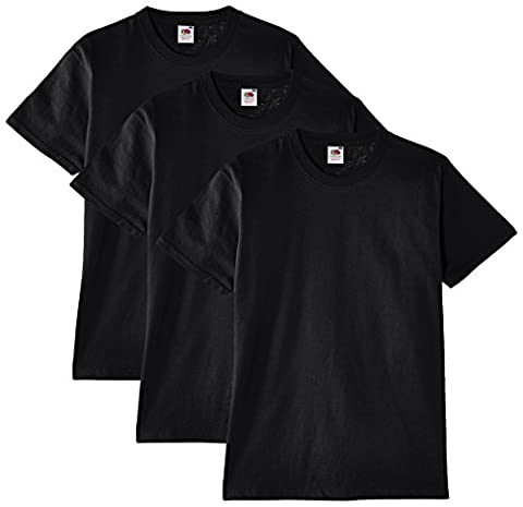Fruit of the Loom Men's Heavy Cotton 3 Pack Regular Fit Round Collar Short Sleeve T-Shirt, Black,