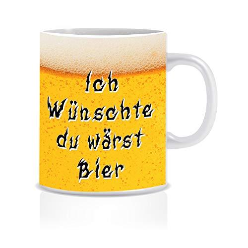 Herz-Ideen Kaffeetasse Ich wünschte du wärst Bier. beidseitig Bedruckte Tasse mit Lustigen Spruch Witzige Geschenkidee für Männer Freunde und Kollegen