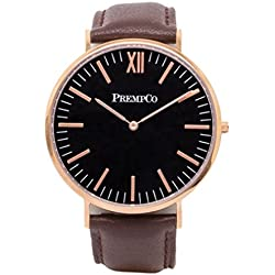 Prempco - Nobel - Men's wrist watch - Black/Rose Gold - Quick Change Watch Wrist Band, Brown