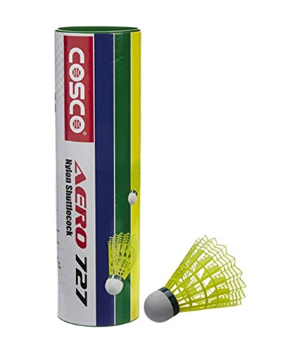 Cosco AERO No. 727 Nylon Shuttle cock (yellow) nylon base. Set of 6 Cock.