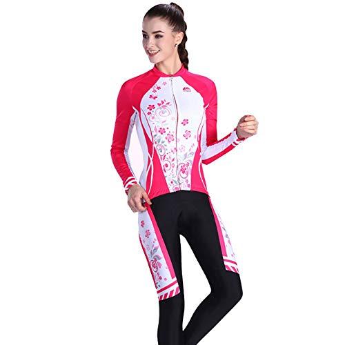 SonMo Damen Schutz Radjacke + Fahrradhose Radfahren Jersey Set Fahrradbekleidung Set Langarm Radtrikot Sommer Elastische Atmungsaktive Schnell Trocken Reflektorstreifen Rot M
