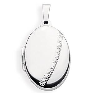 Haus der Herzen Medaillon Oval Amulett 925 Silber zum öffnen für Bildereinlage/ 2 Fotos