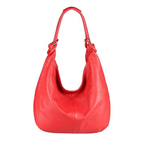 OBC Made in Italy Femmes XXL Sac en cuir Cuir Daim Sac Pour Shopping Sac À Bandoulière Sac Hobo sac - Rouge (Cuir - 47x35x16 cm), in vielen Größen verfügbar