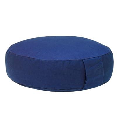 Meditationskissen RONDO BASIC extra-flach mit abnehmbarem Bezug, Dinkel-Füllung , bequemes Sitzkissen, Yogakissen, niedrig, Ø 34cm (dunkelblau)