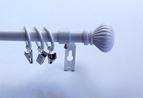 urbanest aus Kugel Single Draperie Gardinenstange Set mit verstellbar Ringe, 5/20,3cm, Zinn, glossy white, 28