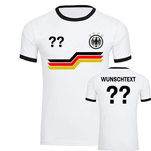 Multifanshop T-Shirt Deutschland Adler Trikot Bunte Balken mit Wunschtext & Wunschzahl Herren weiß/schwarz Gr. S - 3XL - Fanshirt Fanartikel Fußball EM WM,Größe:L