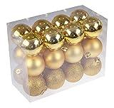 DomoWin Palline di Natale, Palline per Albero di Natale Palle Sfere Addobbi Albero di Natale Palline Addobbi Natalizie Palline Set con 24 Pezzi (3cm Oro)