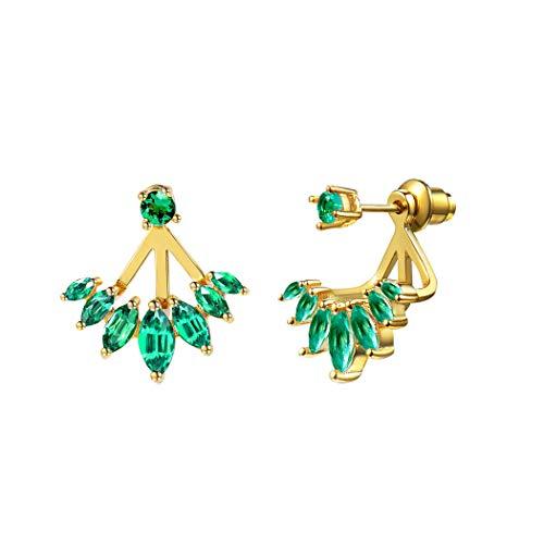 Suplight Orecchini a Lobo Donna con Smeraldo Verde, Orecchini Separabili 2 Modi da Indossare, Placcato Oro 18K, Regalo Compleanno San Valentino (Oro Verde)