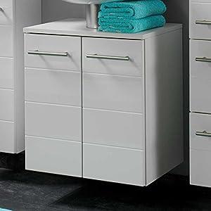 Waschbeckenunterschrank In Weiß Hochglanz 50 Cm Breit Pharao24