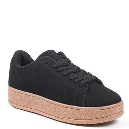 Ideal Shoes–Scarpe da ginnastica con piattaforma effetto camoscio Carline Nero