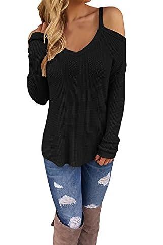 Fempool Women's Strap Off Shoulder Crochet Knit Long Sleeve Sweater (XL, Black)
