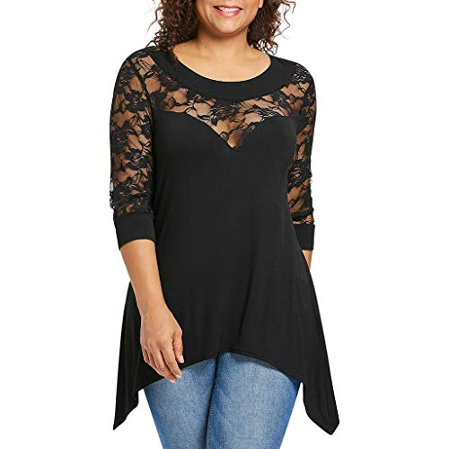 Lomsarsh Frauen Blumenspitze Top Fashion Plus Size Lace Top 3/4 Ärmel Casual Tops Bluse Oansatz Stretch T-Shirts - 26 Plus Krinoline Petticoat