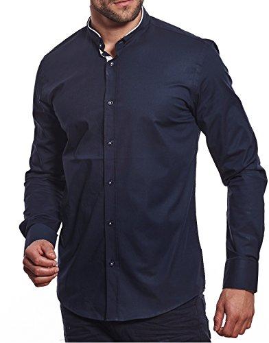 Carisma camicia casual - tinta unita - collo alla coreana - manica lunga - uomo blu navy xxl