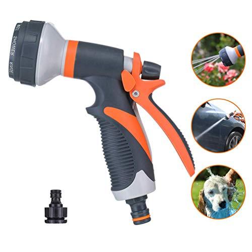 Photo Gallery qka set di pistole a spruzzo per tubo da giardino con connettore da 1/2e 3/4 heavy duty 8 patterns ugello per irrigazione per lavaggio auto, irrigazione giardino per prati, detersivo per cani