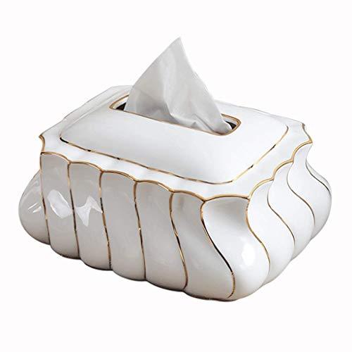 JOAIA Keramik-Gewebe-Kasten-Abdeckungs-Halter, einfacher Haushalt Bone China Goldbehälter-Servietten-Kasten/Weiß / 20×12.5cm -