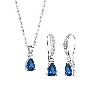 Elli Damen-Halskette + Ohrringe Tropfen 925 Sterling Silber Synthetischer Saphir blau Tropfenschliff 0910910313_45 – 45cm Länge