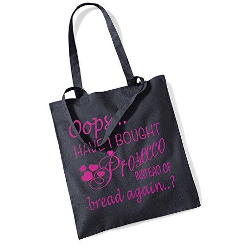 Oops Prosecco Tote Einkaufstasche Gr. Einheitsgröße, Black + Pink