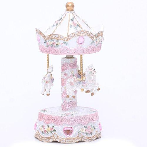 Laxury 3-Pferd Karussell Spieldose, Spielen die Melodie the Castle in the Sky(Modell: Mp-901b, Keramisches Material)
