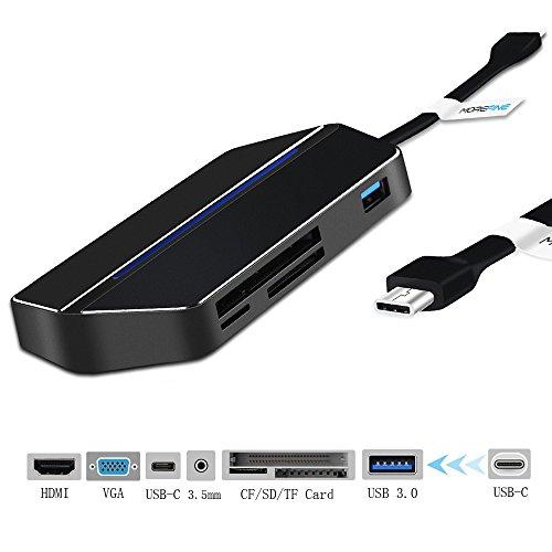 USB C Hub, MOREFINE 8 in 1 3.1 mit USB C Ladeanschluss (Power Delivery) auf 4K HDMI / VGA Adapter SD/TF/CF Kartenleser USB 3.0 Port 3.5mm Kopfhörer Audio Stromversorgung für MacBook und andere USB-C Schnittstellen (Schwarz)