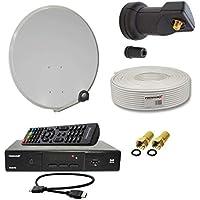 PremiumX Digitale HD Sat Anlage 60cm Schüssel mit Single LNB + 10m Antennenkabel mit F-Stecker + FullHD Sat Receiver HDMI-Kabel