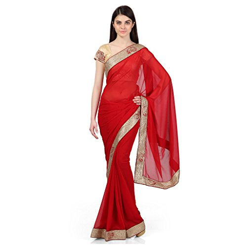 Janasya women's Red Georgette saree with heavy border (JNE0562)  available at amazon for Rs.549