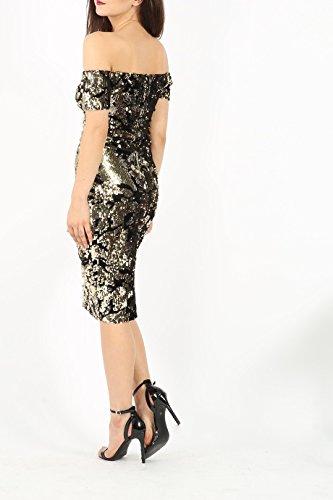Damen Bardot weg von der Schulter Samt und Sequin Midi-Kleid EUR Größe 36-44 Schwarz
