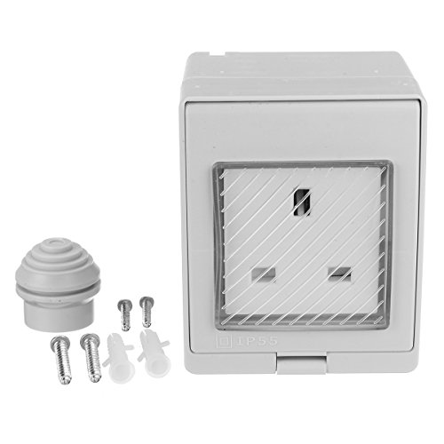 ChaRLes 13A Storm Weatherproof Socket Switched ABS UK Socket IP55 Rated Single Gang Waterproof Socket - Switched Socket
