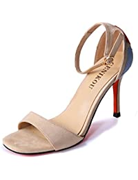 LGK&FA High Heeled Shoes Women's Suede Color Toes Thin and Hollow Buckles. Thirty-Eight Beige