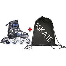 SPOKEY® NAILER Patines en Línea | Niños | Mujer | Hombre | Inline Skates | Cuchillas ABEC5 de carbono | Tamaños ajustable 31-34, 35-38, 39-42, Color:Schwarz-Blau;Spokey Größen:31-34