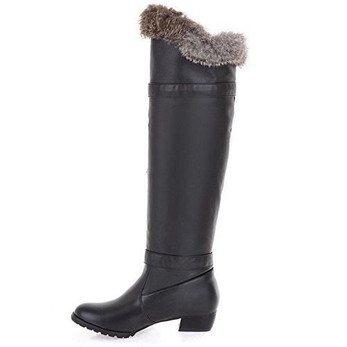 COOLCEPT Damen Winter Warm Flache Lange Stiefel Warm Schneestiefel Mit Wolle Schwarz