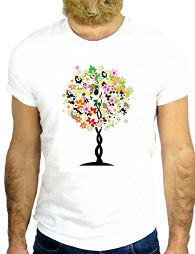 T SHIRT JODE Z2447 TREE FLOWER COOL HIP HOP POWER FLOWER USA VINTAGE HIPPY GGG24 BIANCA - WHITE