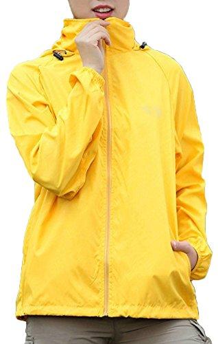 Mochoose Femme Légère Packable Veste de Sport à Capuche Protection UV Coupe Vent Imperméable à Séchage Rapide Jaune