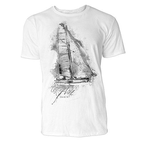 Segeln Sinus Art ® Herren T Shirt ( Schwarz Weiss ) Sportshirt Baumwolle