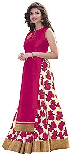M&M World Women's Banglori Silk Indo-Western Lehenga-Choli For Women (PINK)