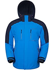 Mountain Warehouse Chaqueta Esquí Para Hombre Impermeable Capucha Armstrong 4 Way Azul M