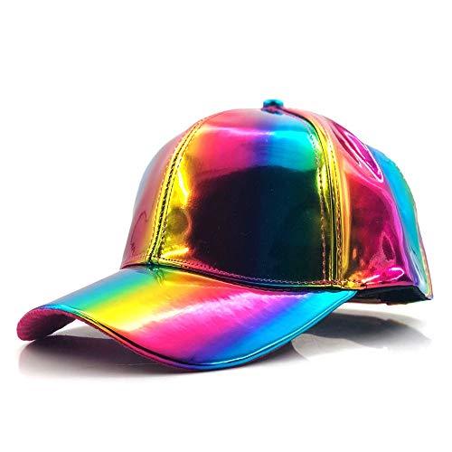Blauer Strand Mode Hip-Hop-Hut Für Regenbogen Farbwechsel Hut Cap Zurück In Die Zukunft Prop Bigbang G-Dragon Baseball Cap (Farbe : Multi-Colored, Größe : 56-60CM)