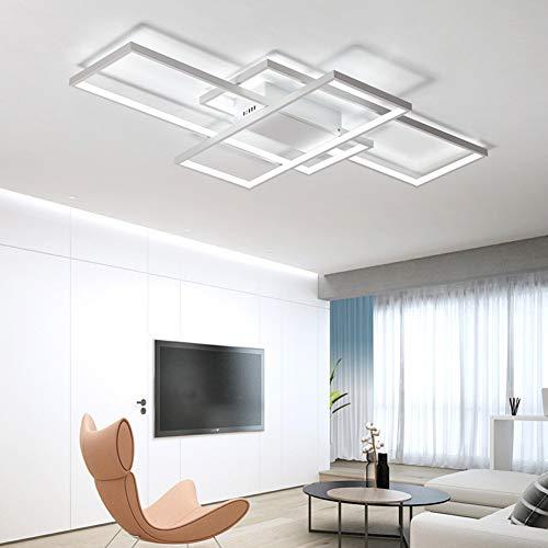 Plafonnier LED de salon à intensité variable 3000K-6500K en acrylique - Couleur de la lumière/luminosité réglable - Lampe moderne chic pour salle à manger, chambre à coucher, cuisine Moderne Weiß