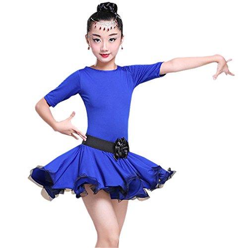 (XFentech Kinder Mädchen Elegante Tanzkleidung Tango Latein Tanzkleid Übung Wettbewerb Performances Kostüm, Dunkelblau/160)