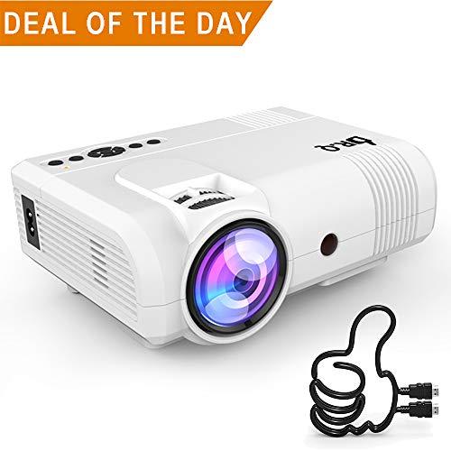 DR.Q Beamer, L8 Mini Projektor, 3800 Lumen, Videoprojektor unterstützt 1080P HD, 90% mehr Lichtleistung und Lampenlebensdauer, unterstützt HDMI VGA AV USB TF Geräte, Heimkino Projektor, Weiß. (Smartphone Mini-projektor)