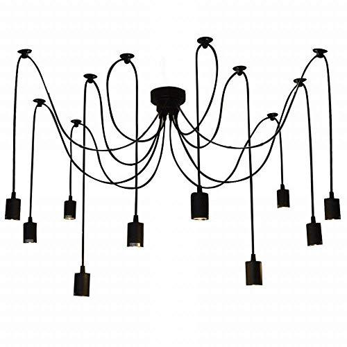 REAYOU Kronleuchter helles justierbares DIY Decken-Spinnen-hängendes Lampen-Licht E27 Retro DIY Lampe Ideal für Wohnzimmer Haus Esszimmer Halle Schlafzimmer Hotel Bar Café Nostalgie(ohne Birne) -