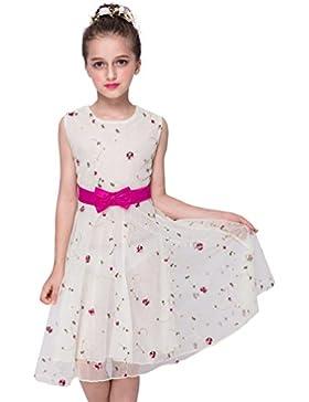 WanYang Sin Mangas De Cuello Redondo Princesa Falda Beige Vestidos Florales Falda Elegante De Fiesta Casual Vestidos