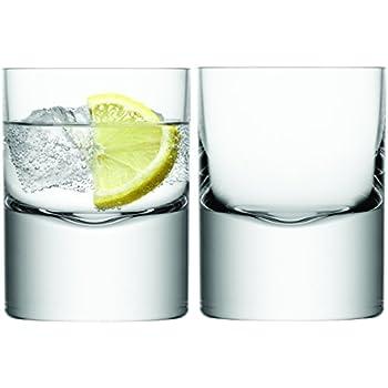Lot de 2 Verre Transparent LSA International Renfrew /à Whisky Verre avec Dessous en Noyer 270/ML