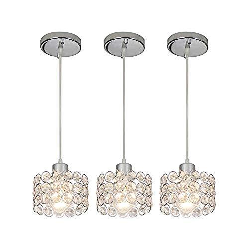 3-licht-indoor-laterne (xiadsk Licht, Lampe, Laterne 3-Licht Indoor Chrome Decke hängen Silber Runde klare Kristall Pendelleuchte, Caged Crystal Shade Pendelleuchte Beleuchtung)