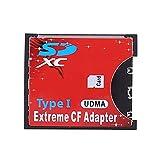 HermosaUKnight 64 GB - 128 GB Einzelsteckplatz Extreme für Micro SD/SDXC TF für Compact Flash CF Typ I Speicherkartenleser-Adapter-Rot