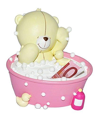 Spardose - Teddy Bär  Forever Friends  - stabile Sparbüchse aus Kunstharz / Kunststoff - Sparschwein für Mädchen Jungen Baby Teddybär Bären Badewanne