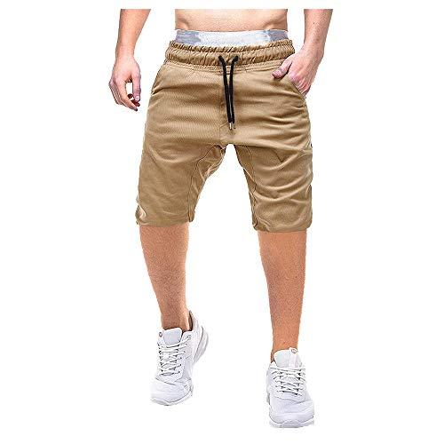 Aiserkly Herren Pure Color Button-Pocket Cargo Shorts Arbeitshose Freizeithose Kampfhose Kurze Drawstring Hosen Sommer -