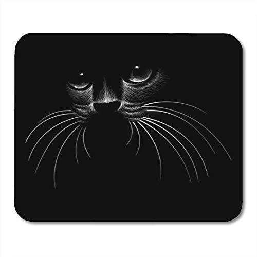 Gaming Mauspad Black Cat in Shadow White Line Nature Painting Animal Brush 11.8